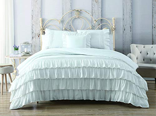 KingLinen 4 Piece Darla 100 Cotton White Comforter Set Queen