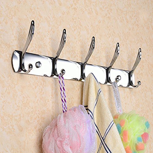 C&C Products 5 Hooks Stainless Steel Bath Clothes Towel Hanger Silver Hooks Coat Hat Rack