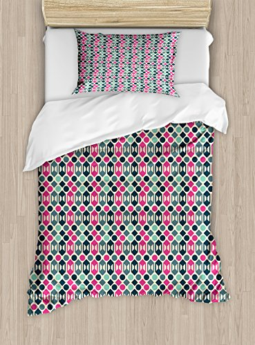 Ambesonne Novelty Duvet Cover Set Retro 60s Home Design Inspired Geometrical Shapes and Dots Decorative 2 Piece Bedding Set with 1 Pillow Sham Twin Size Fern Green Hot Pink and Pale Pink