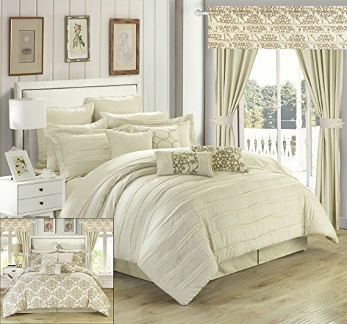 Chic Home Hailee 24 Piece Comforter Set Complete Bed in a Bag Pleated Ruffles and Reversible Print with Sheet Set and Window Treatment Queen Beige