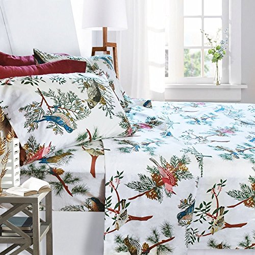 Printed Bed Sheet Set King Size - Birds - By Clara Clark 6 Piece Bed Sheet 100 Soft Brushed Microfiber With Deep Pocket Fitted Sheet 1800 Luxury Bedding Collection Hypoallergenic