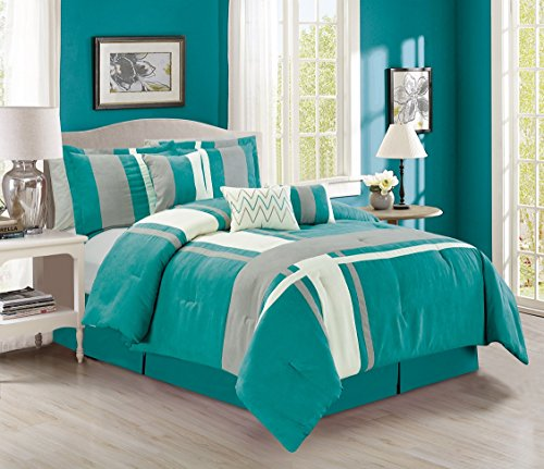 Elegant Home Beautiful Luxury 7 Piece Teal Turquoise White Grey Modern Contemporary Striped Micro Suede King Size Comforter Set Bed-in-a-bag Bedding Set with Accent Pillows  188 Teal King