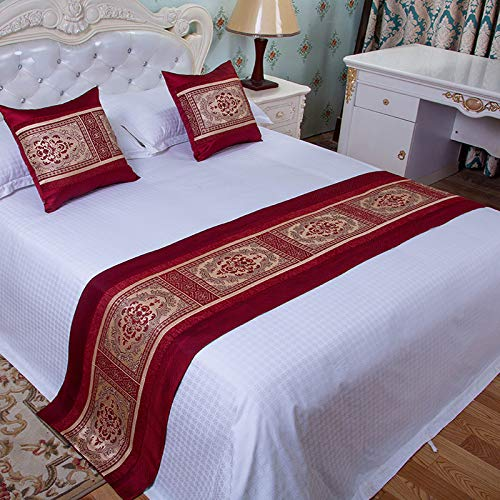 ybbed Bed Runner Bed Scarf European Luxury Bedroom Bed Home Hotel Bed Flag Bed Towel Bed Cover Simple Modern high-end red Big Grid 50x50 Pillowcase 1