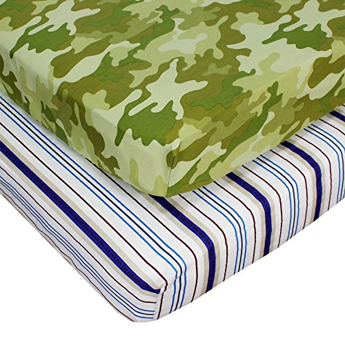 Set of 2 RoomCraft Toddler Fitted Sheets All Star Stripes and Safari Camouflage Bedding