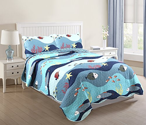 MarCielo 3 Piece Kids Bedspread Quilts Set Throw Blanket for Teens Boys Girls Bed Printed Bedding Coverlet Full Size Ocean Fish Full