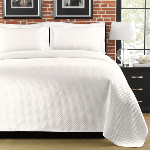 Lamont Home Diamante FullQueen Coverlet White