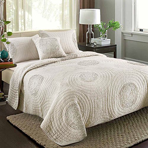 Quilt Sets King Size 100 Cotton Solid 3D Floral Pattern Quilted Coverlet with Shams by MicBridal Modern Bedspread Beige