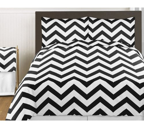 Black and White Chevron 3 Piece Bed in a Bag Zig Zag King Bedding Set Collection