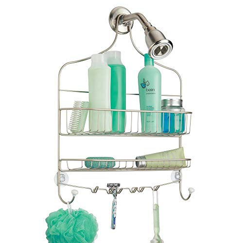 mDesign Extra Wide Metal Wire Bathroom Tub and Shower Caddy Hanging Storage Organizer Center with Built-in Hooks and Baskets on 2 Levels Rust Resistant - Satin
