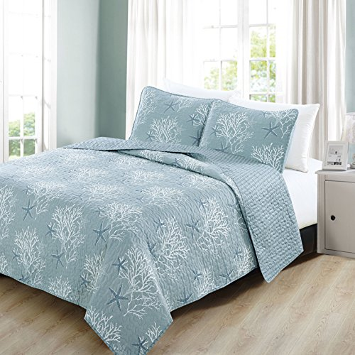 3 Piece Beautiful Blue White Full Queen Quilt Set Nautical Beach Themed Reversible Bedding Seaside Teal Ocean Cottage Cabin Vintage Trendy Chic Water Coastal Starfish Cotton Polyester