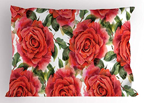 HFYZT Roses Pillow Sham English Garden Themed Print of Watercolor Effect Flowers with Nostalgic Inspirations Decorative Standard Size Printed Pillowcase 18 X 18 Inches Multicolor