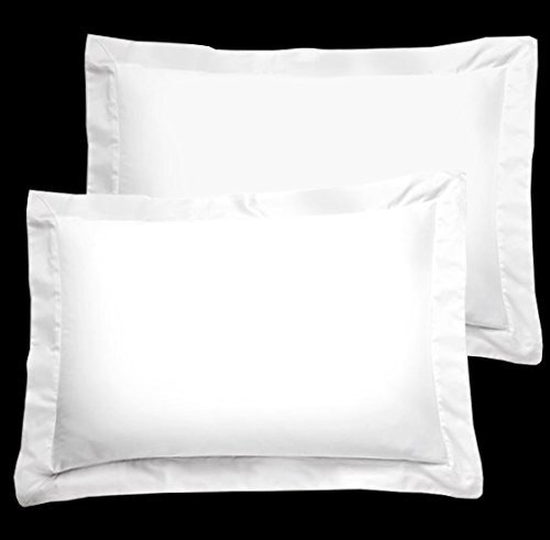 FlyingCart Brand New Hotel White Color 500-Thread Count Standard  Queen Twin Twin XL Size 20x30 Size 2pcs Pack Pillow cover Shams Pair 100 Egyptian Cotton Amazon Prime