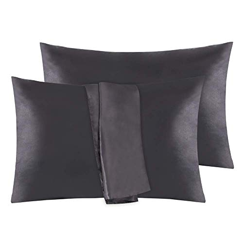 EMME 2-Pack Satin Pillowcases Set for Hair and Skin 20x36 Cool and Silky Pillow Cover with Envelope Closure Super Soft and Luxury Pillow Encasement Bed Pillow Protector Black King