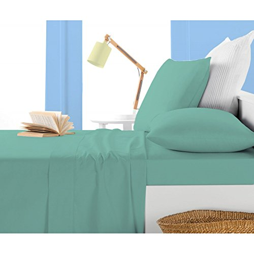Solid Pattern One 1 Piece Fitted Sheet King Size with 8 Inch Deep Pocket in New Aqua Blue color and 100 Pima Cotton  400 Thread Count