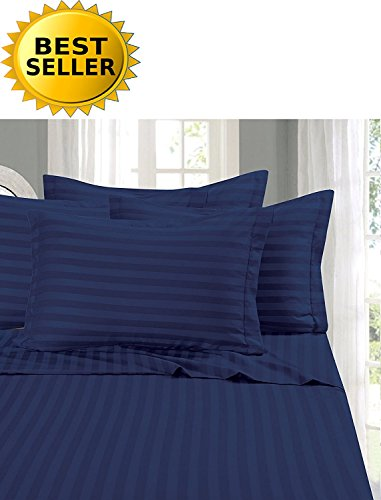 Elegant Comfort 1 Bed Sheet Set on Amazon - Super Silky Soft - 1500 Thread Count Egyptian Quality Luxurious Wrinkle Fade Stain Resistant 6-Piece STRIPE Bed Sheet Set Full Navy