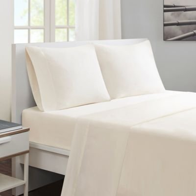 Linenwalas Organic Naturel Bamboo Sheets - 4-Piece Bed Sheet Set - Softest Bedsheets and Pillow Cases - Sateen Finish - Queen Size - Ivory