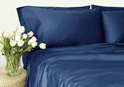Fab Linens New Collection 300 Thread Count 100 Egyptian Cotton Solid Navy Blue King Sheet Set with 14 Deep Pockets