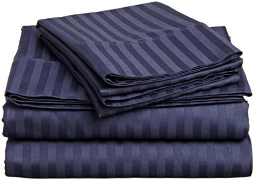 Fab Linens New Collection 500 Thread Count 100 Egyptian Cotton Striped Navy Blue King Sheet Set with 24 Deep Pockets