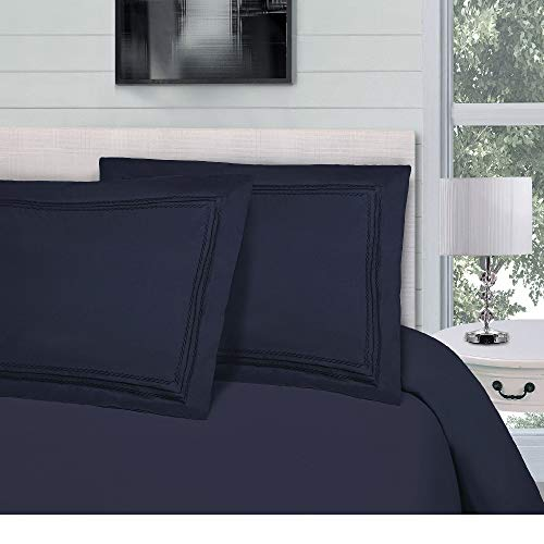3 Piece Full - Queen Hypoallergenic Mid-Century Infinity Embroidered Solid Color Navy Blue Duvet Cover Set Modern Wrinkle Resistant Microfiber Lightweight Duvet Cover Smooth Soft Luxe Bedding Set
