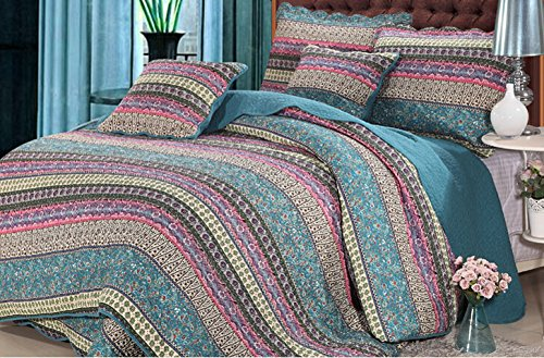 Newrara Boho 3-pieces Stripe Patchwork Quilt Bedding Queen Blue