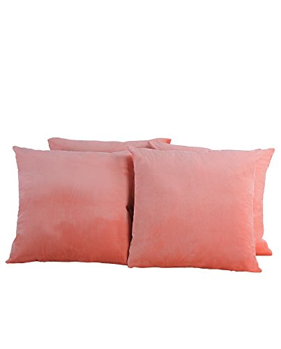BOON Supersoft Decorative Solid Color Throw Pillow Shell Cushion Cover in Pack of 4 20 x 20 PEACH ECO
