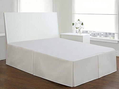 550 Thread Count Hotel - Collection Bedding Egyptian Cotton  1-PCs  White Solid Bed Skirt King Size Extra Fall  Drop Length  15 Inches Made By Plushy Linen