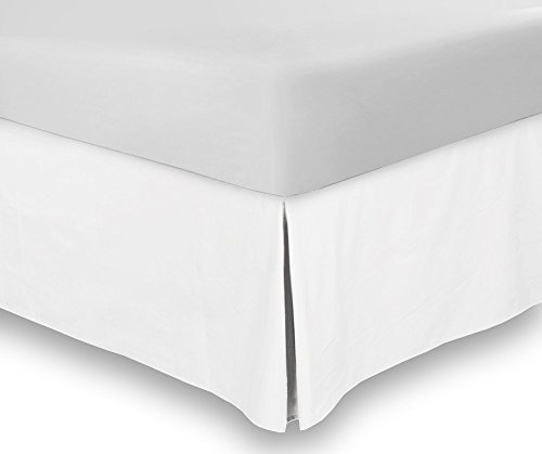 Bed Skirt Full White 15 Inch Fall - Hotel Quality Iron Easy Quadruple Pleated  Wrinkle and Fade Resistant - by Utopia Bedding