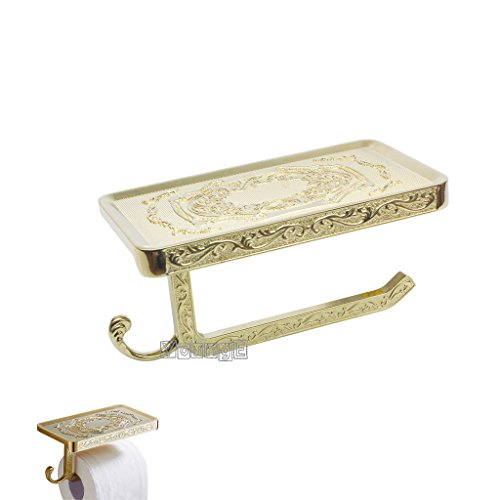 YOUNGE Antique Carving Toilet Paper HolderBathroom Paper Tissue Holder with Mobile Phone Storage Shelf Golden