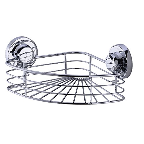 TRUSTMI Suction Cup Corner Shower Caddy Bath Organizer - Stainless Steel - Chrome