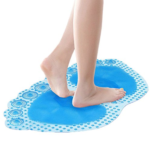 Lifewheel Non Slip Bathroom Floor Mat Slip Resistant Safety Bathmat with Suction Cup 60cmx35cm Blue