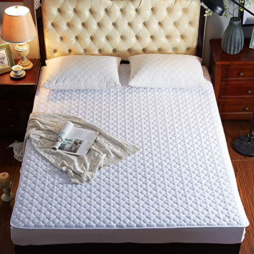 Pangzi Solid Flannel Plush Bedding Fitted SheetVelvety Soft Heavyweight Non-Slip Protective Cover for Bed Mattress Queen White