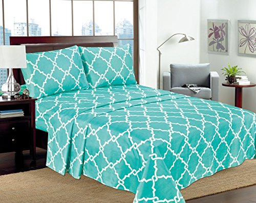 Empire Home 4-Piece 16 DEEP POCKET Geometric Printed Sheet Set Bedding - All Sizes Queen Turquoise