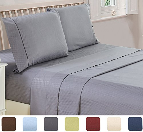 4 Piece Deep Pocket 1800 Series Bed Sheet Set Comfortable Breathable Soft Extremely Durable Quality Platinum Bedding Set Sheet Pillow Case by Lux Decor Checkered Collection Queen Grey