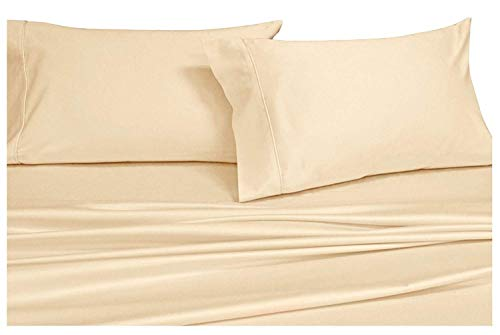 Royals Solid Ivory 1000-Thread-Count 4pc Olympic Queen Bed Sheet Set 100-Percent Cotton Sateen Solid Deep Pocket