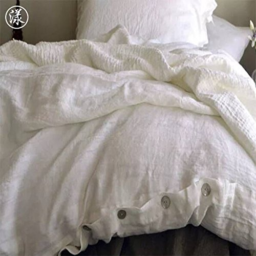 European Made Pure Linen Sheets Set Duvet cover Fitted and 2 Pillowcases 100 Fine Organic and Natural Flax Queen Antique White