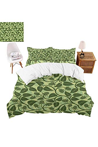 vroselv-home 4 Pieces Bedding Sets Raspberry Leaves Garden Duvet Cover SetInclude 1 Flat Sheet 1 Duvet Cover and 2 Pillow Cases - Twin SizeNO Comforter