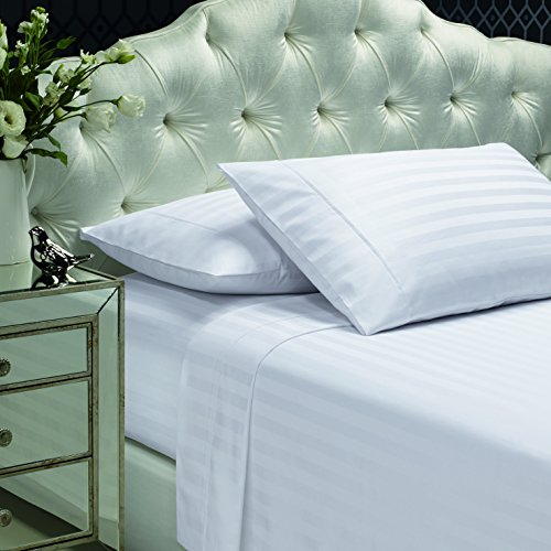 300 Thread Count 100 Cotton Sheet Set Stripe Sheets Soft Sateen WeaveQueen Sheets Deep PocketsHotel CollectionLuxury Bedding-Bestseller- Super Sale 100 CottonWhite by Dream Castle