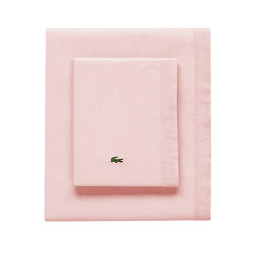 Lacoste 100 Cotton Percale Sheet Set Solid Iced Pink Twin