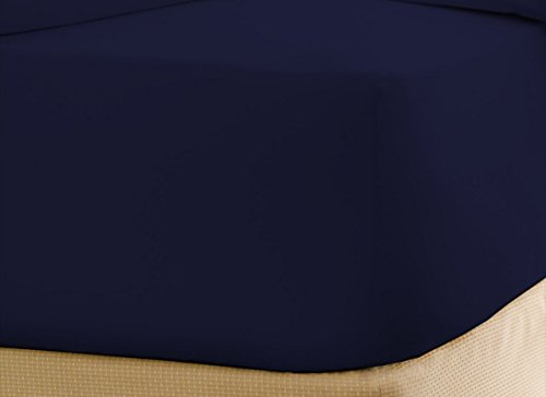 Solid Navy Blue Queen Size 1 Piece Fitted Sheet Bottom Sheet Only 700 Thread Count 100 Egyptian Cotton 15 Inch Deep Pocket by Prince Bedding