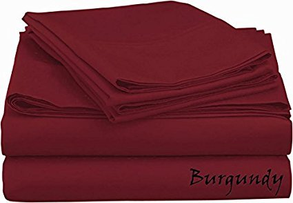 KM Linen Heavy Burgundy Color Natural Refreshed Sleepy Feeling Sheet Set- 100 Egyptian Cotton Quality Bed Sheet Set 4-PCs Solid Pattern Queen XL Size  1500 TC  - 15 Inch Pocket Deep