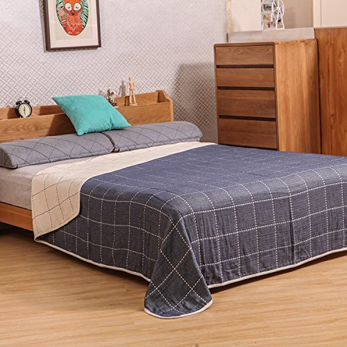 Pure cotton bedroom summer bed sheet leisure blanket air conditioning blanket140cmX190cmNavy Blue XXCWN