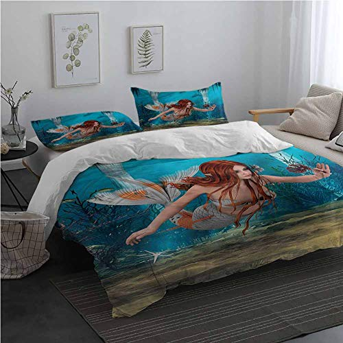 AndyTours Mermaid Printed Pattern Soft Cozy and Durable Bedding Set Magic Aqua Sea Lily 3 Pieces 1 Duvet Cover  2 Pillow Shams King