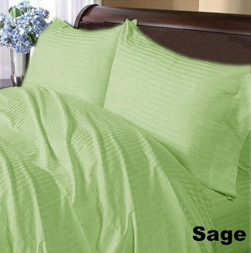 600 TC Queen Size 25 Inches Fit Perfect Deep 4-Piece Green Sage Striped Softy Luxury Bedding Sheet Set 100 Egyptian Cotton Made By Branded SKS Linen