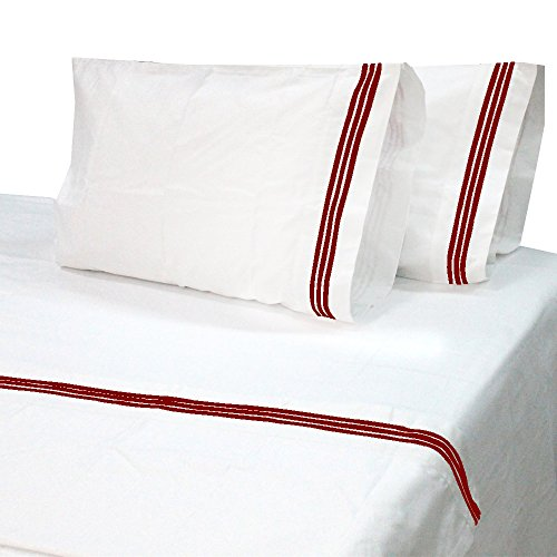 6 Piece Premium Bed Sheet Set Embroidered Set 1000 Thread Count 1 Flat Sheet 1 Fitted Sheet And 4 Pillowcases 30 deep pocket 100 Egyptian Cotton Solid Burgundy Embroidery Twin-XL