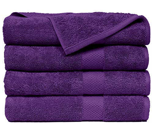 Casa Platino 600 GSM Premium Towels Set 4 Pack - Cotton for Hotel Spa Maximum Softness and Absorbency by Affinity Linens Royal Purple