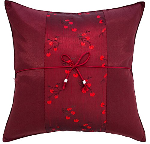 Avarada 16x16 Inch 40x40 cm Striped Mei Floral Flower Decorative Throw Pillow Case Cushion Cover for Sofa Couch Chair Bed Insert Not Included Zipper Dark Red Maroon