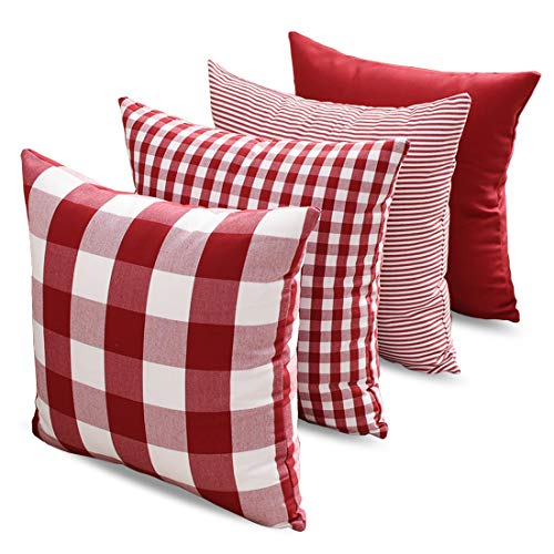 CARRIE HOME Buffalo Check Pillow Covers Buffalo Plaid Throw Pillow Cover 18x18 for Red and White Decorations Set of 4