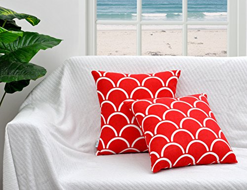 Set of 2 Bow Print Cotton Canvas Accent Decorative Throw Pillow Covers Cushion Cases by Value Homezz Home Collections - 16 X 16 Inches Red