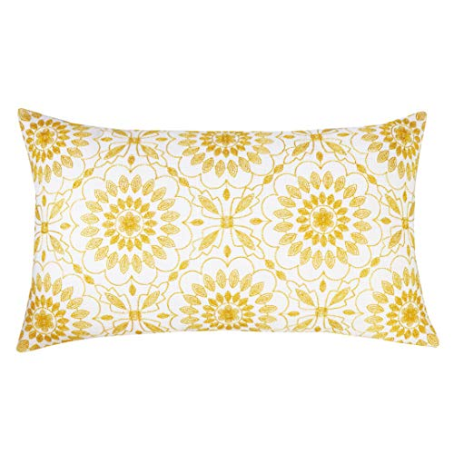 SLOW COW Cotton Linen Embroidery Lumbar Throw Pillow Cover Cushion Cover Floral Pattern Rectangular Pillowcase for Couch Bedroom 12 x 20 Inches Yellow Gold